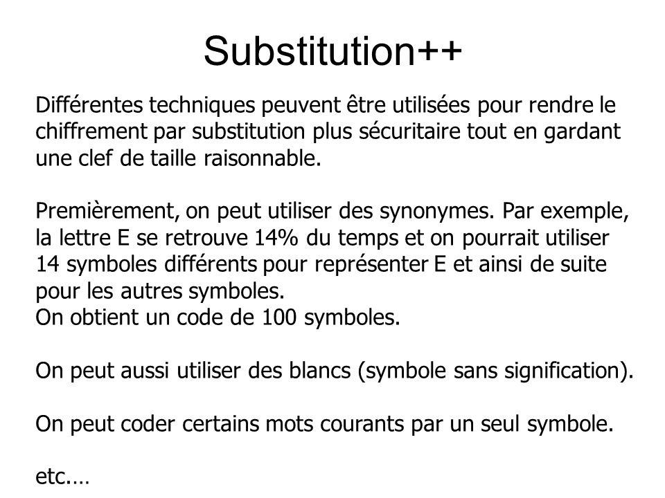 Substitution++ Différentes techniques peuvent être utilisées pour rendre le chiffrement par substitution plus sécuritaire tout en gardant une clef de taille raisonnable.