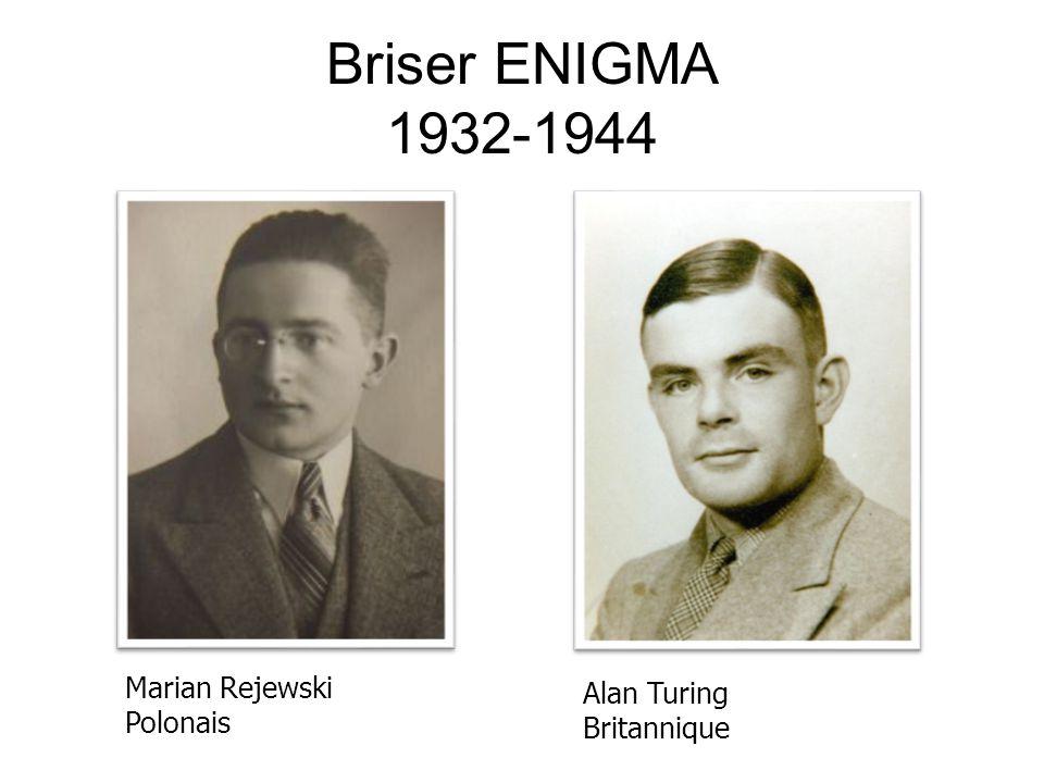 Briser ENIGMA 1932-1944 Marian Rejewski Polonais Alan Turing Britannique
