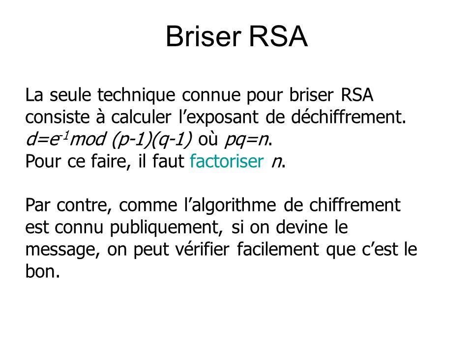 Briser RSA La seule technique connue pour briser RSA consiste à calculer lexposant de déchiffrement. d=e -1 mod (p-1)(q-1) où pq=n. Pour ce faire, il