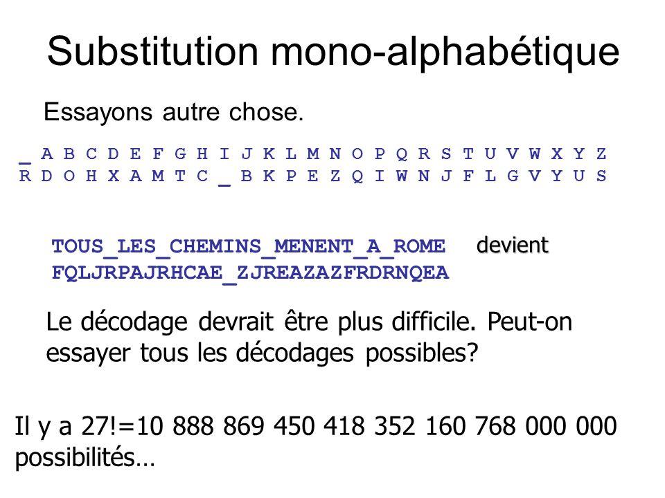 Substitution mono-alphabétique Essayons autre chose. _ A B C D E F G H I J K L M N O P Q R S T U V W X Y Z R D O H X A M T C _ B K P E Z Q I W N J F L