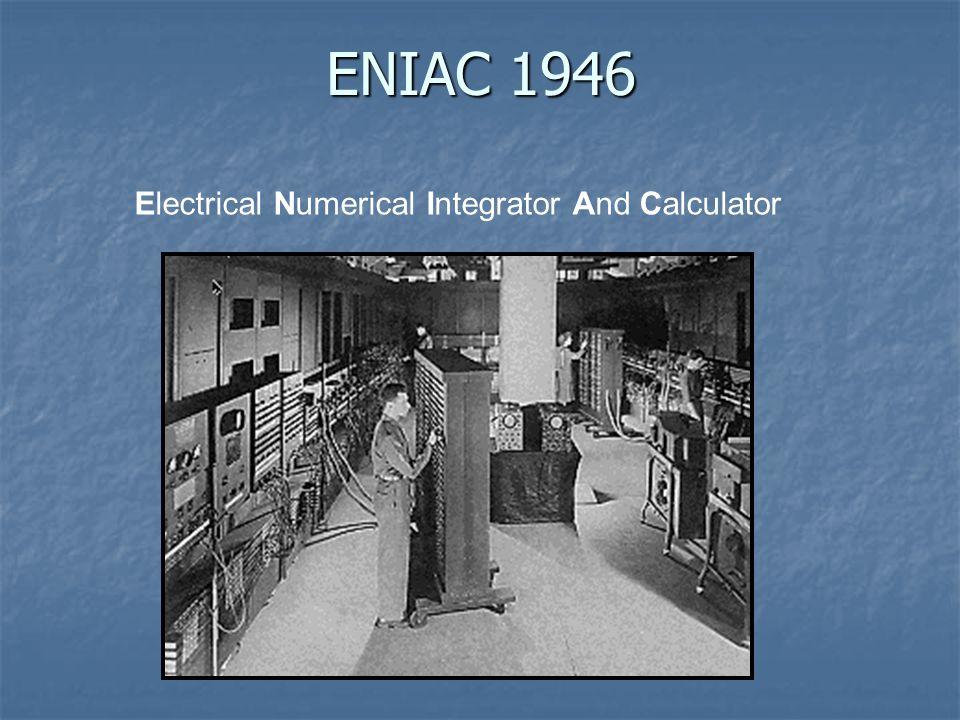 Poids: 30 tonnes Poids: 30 tonnes Mémoire: 80 octets Mémoire: 80 octets Vitesse: 357 FLOPS Vitesse: 357 FLOPS Prix: 487000$US Prix: 487000$US ENIAC 1946