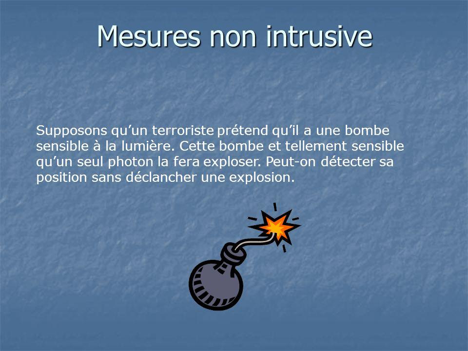 Mesures non intrusive Supposons quun terroriste prétend quil a une bombe sensible à la lumière. Cette bombe et tellement sensible quun seul photon la