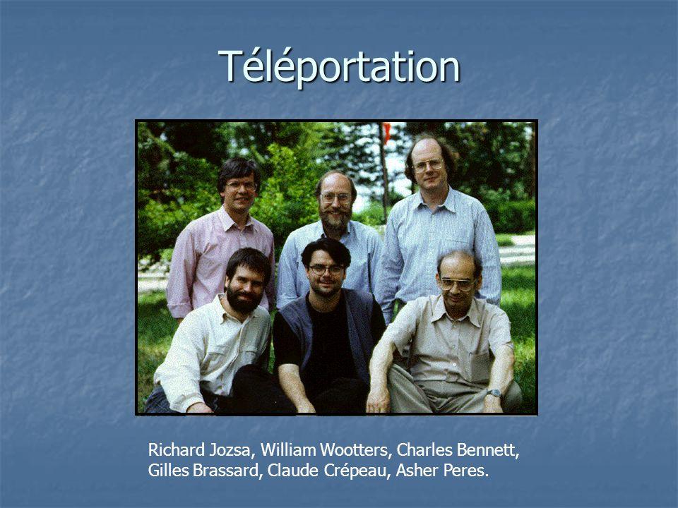Téléportation Richard Jozsa, William Wootters, Charles Bennett, Gilles Brassard, Claude Crépeau, Asher Peres.