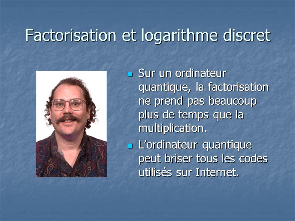 Factorisation et logarithme discret Sur un ordinateur quantique, la factorisation ne prend pas beaucoup plus de temps que la multiplication. Sur un or
