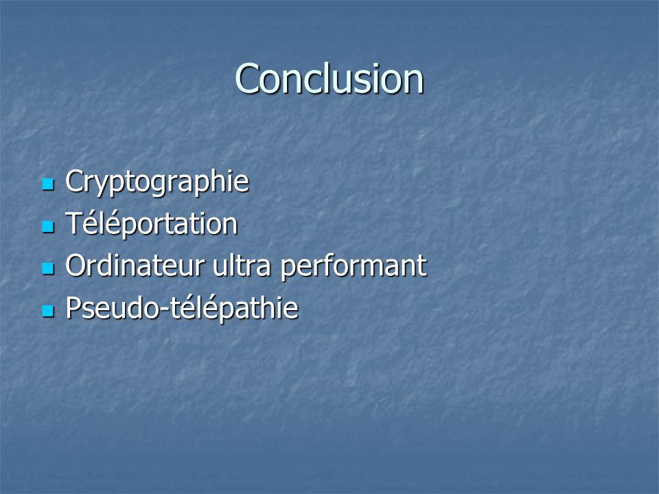 Conclusion Cryptographie Cryptographie Téléportation Téléportation Ordinateur ultra performant Ordinateur ultra performant Pseudo-télépathie Pseudo-té