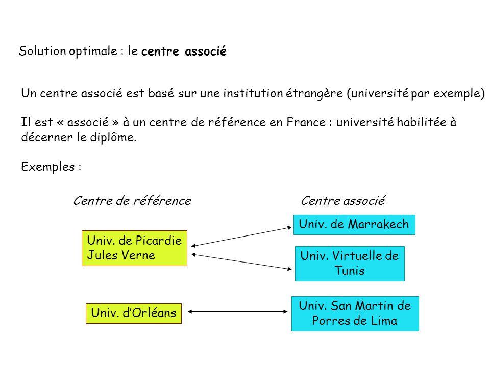 Solution optimale : le centre associé Un centre associé est basé sur une institution étrangère (université par exemple) Il est « associé » à un centre de référence en France : université habilitée à décerner le diplôme.