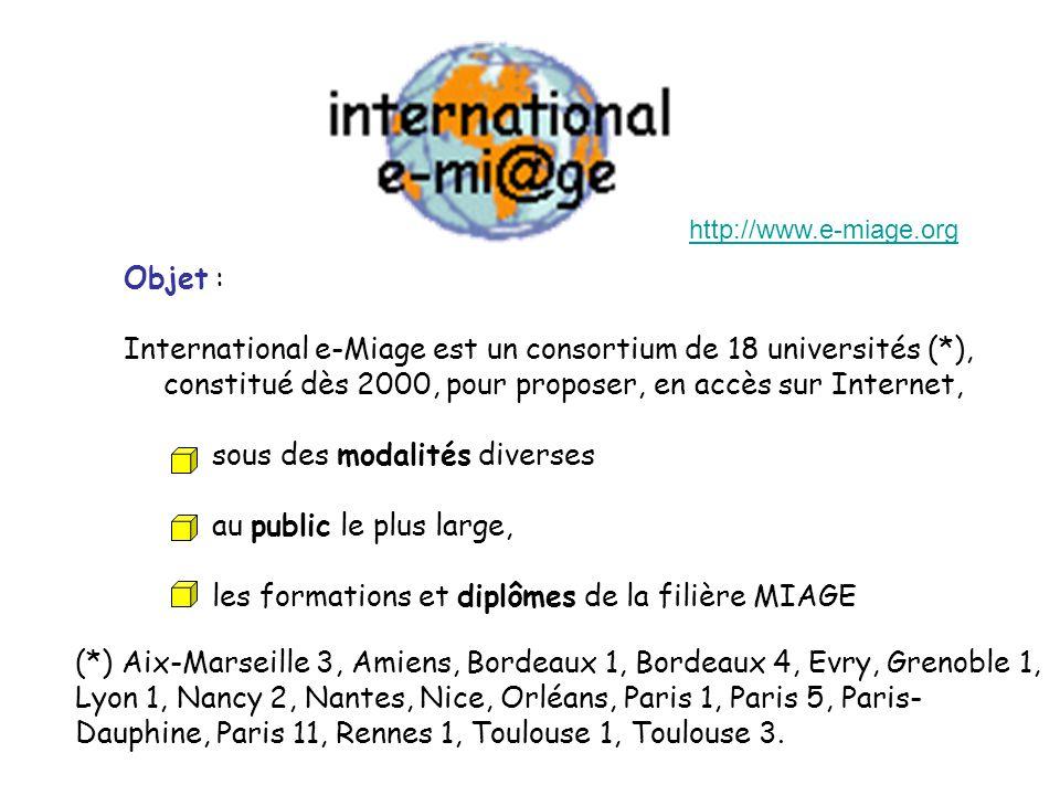 Objet : International e-Miage est un consortium de 18 universités (*), constitué dès 2000, pour proposer, en accès sur Internet, sous des modalités diverses au public le plus large, les formations et diplômes de la filière MIAGE (*) Aix-Marseille 3, Amiens, Bordeaux 1, Bordeaux 4, Evry, Grenoble 1, Lyon 1, Nancy 2, Nantes, Nice, Orléans, Paris 1, Paris 5, Paris- Dauphine, Paris 11, Rennes 1, Toulouse 1, Toulouse 3.