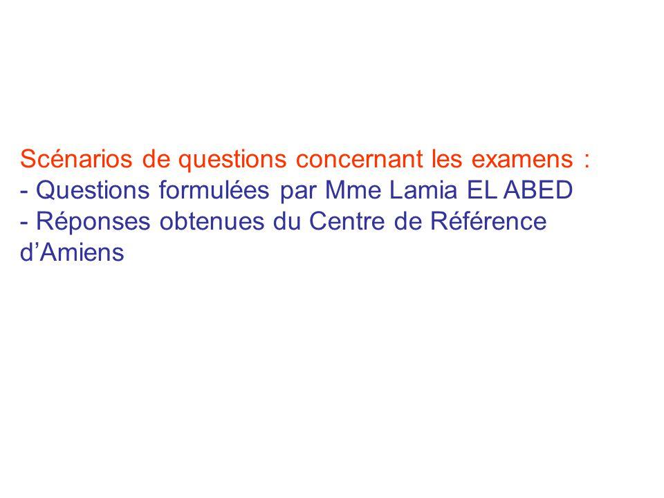 Scénarios de questions concernant les examens : - Questions formulées par Mme Lamia EL ABED - Réponses obtenues du Centre de Référence dAmiens