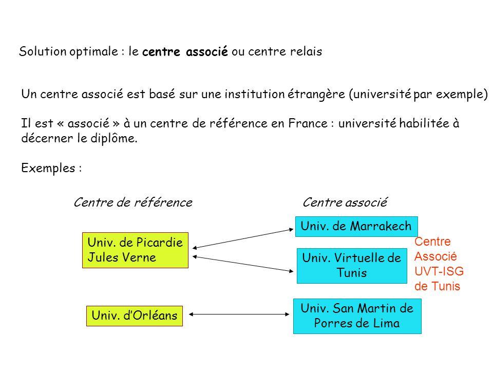 Solution optimale : le centre associé ou centre relais Un centre associé est basé sur une institution étrangère (université par exemple) Il est « associé » à un centre de référence en France : université habilitée à décerner le diplôme.