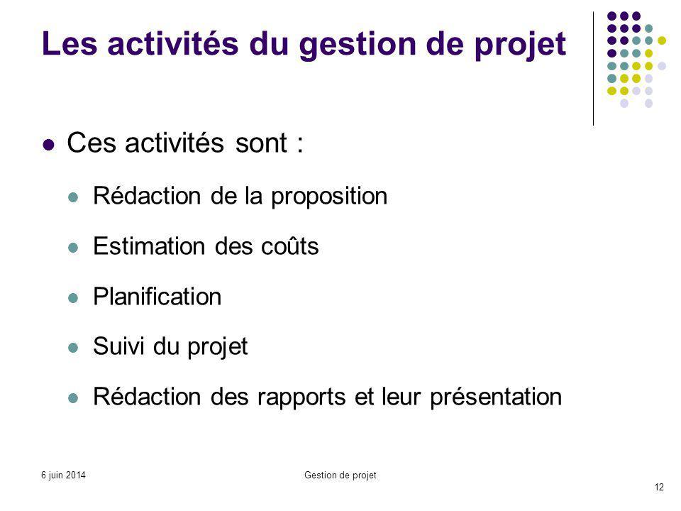 Ces activités sont : Rédaction de la proposition Estimation des coûts Planification Suivi du projet Rédaction des rapports et leur présentation Les activités du gestion de projet 12 Gestion de projet6 juin 2014
