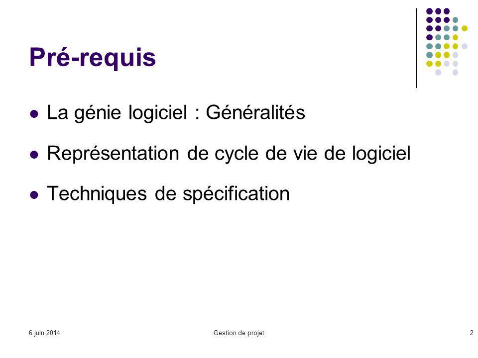 Pré-requis La génie logiciel : Généralités Représentation de cycle de vie de logiciel Techniques de spécification Gestion de projet26 juin 2014