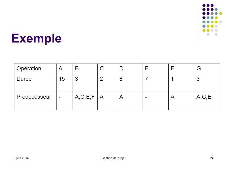 Exemple OpérationABCDEFG Durée15328713 Prédécesseur-A,C,E,FAA-AA,C,E 6 juin 2014Gestion de projet24