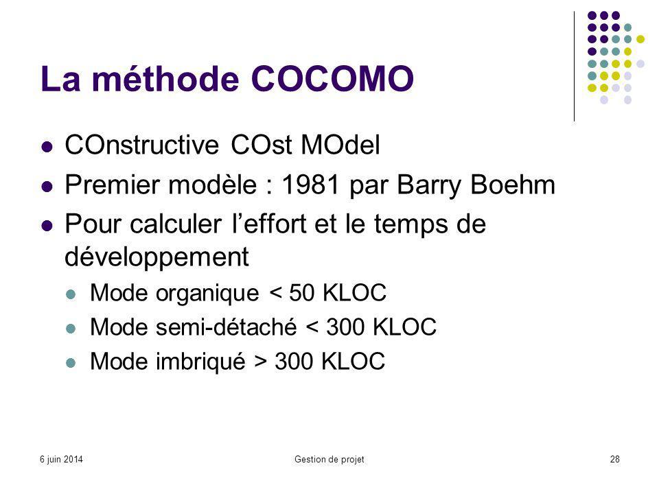 La méthode COCOMO COnstructive COst MOdel Premier modèle : 1981 par Barry Boehm Pour calculer leffort et le temps de développement Mode organique < 50 KLOC Mode semi-détaché < 300 KLOC Mode imbriqué > 300 KLOC Gestion de projet286 juin 2014