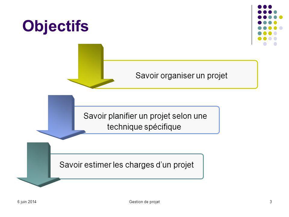 Gestion de projet3 Objectifs Savoir organiser un projet Savoir estimer les charges dun projet Savoir planifier un projet selon une technique spécifique 6 juin 2014