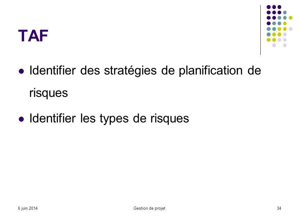 TAF Identifier des stratégies de planification de risques Identifier les types de risques Gestion de projet346 juin 2014