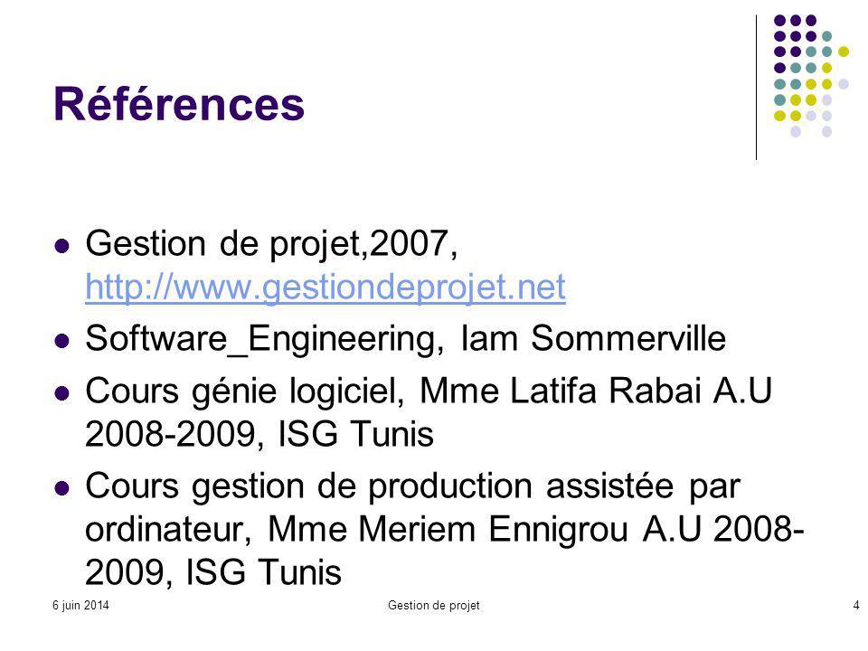 Références Gestion de projet,2007, http://www.gestiondeprojet.net http://www.gestiondeprojet.net Software_Engineering, Iam Sommerville Cours génie logiciel, Mme Latifa Rabai A.U 2008-2009, ISG Tunis Cours gestion de production assistée par ordinateur, Mme Meriem Ennigrou A.U 2008- 2009, ISG Tunis Gestion de projet46 juin 2014