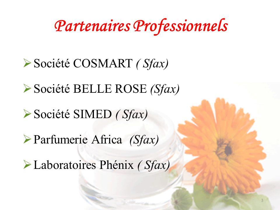 Partenaires Professionnels Laboratoires Nihel ( Sfax) Centre Technique de Chimie (Tunis) Tunisie Label (Tunis) Laboratoires RONCEY (Tunis) Société DETERNET (Sousse)…….