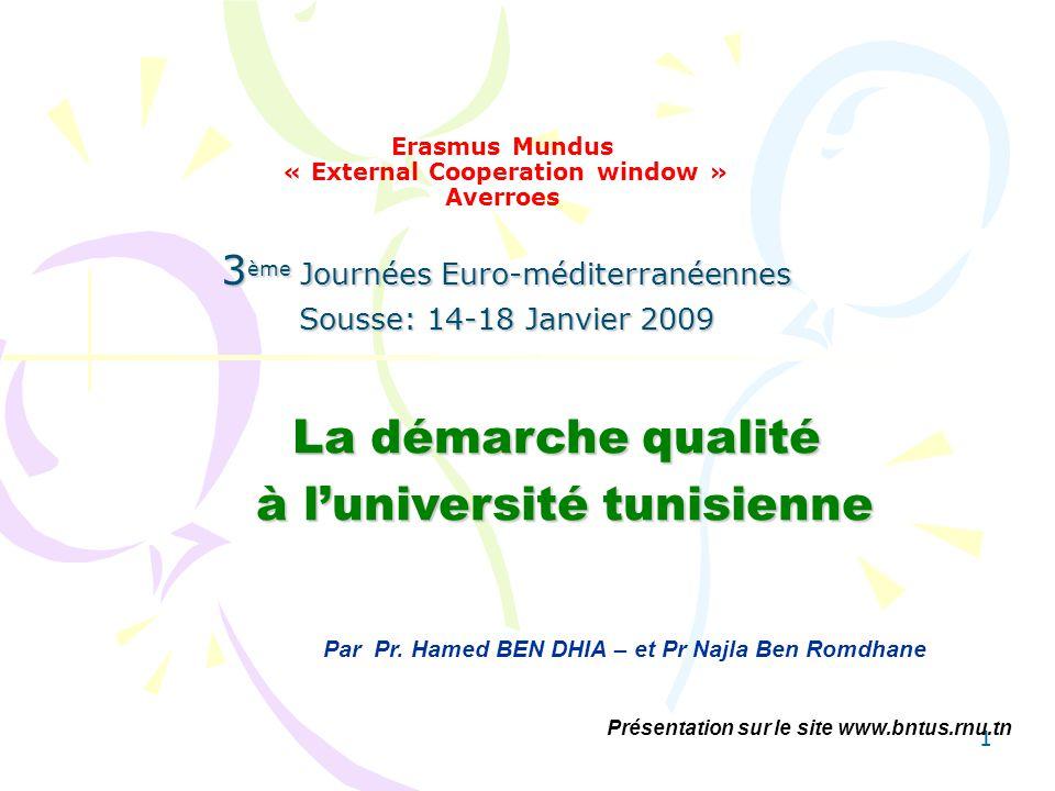 11 Erasmus Mundus « External Cooperation window » Averroes 3 ème Journées Euro-méditerranéennes Sousse: 14-18 Janvier 2009 Par Pr. Hamed BEN DHIA – et