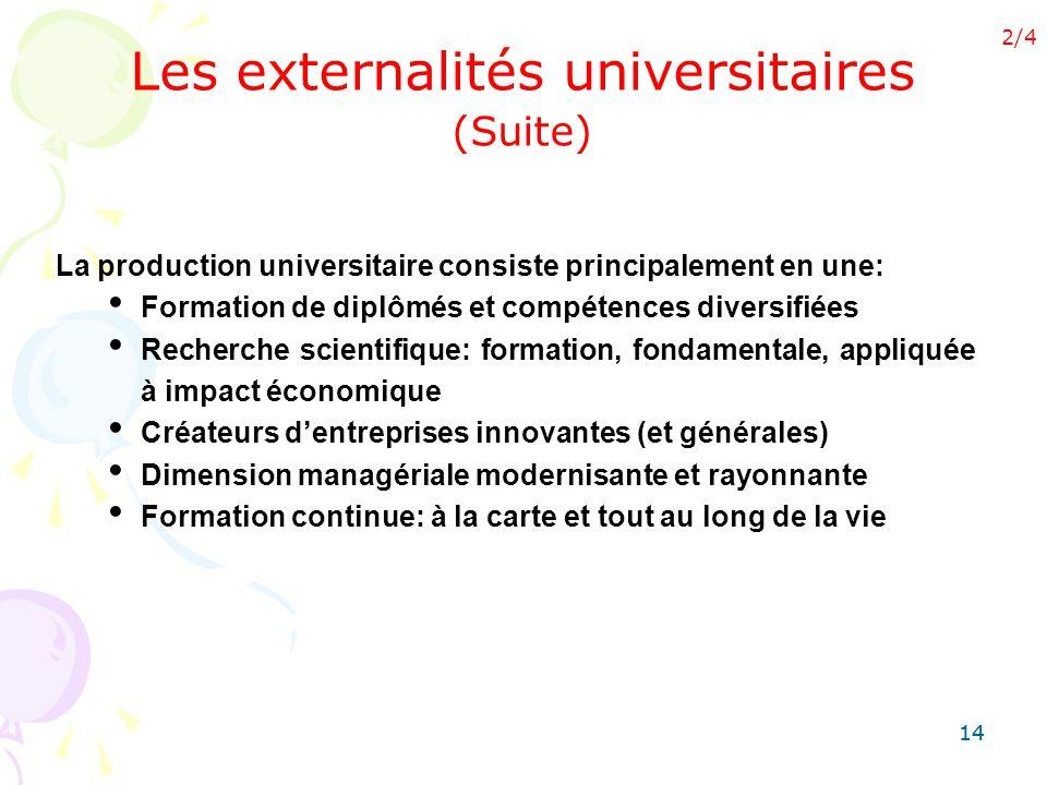 14 Les externalités universitaires (Suite) La production universitaire consiste principalement en une: Formation de diplômés et compétences diversifié