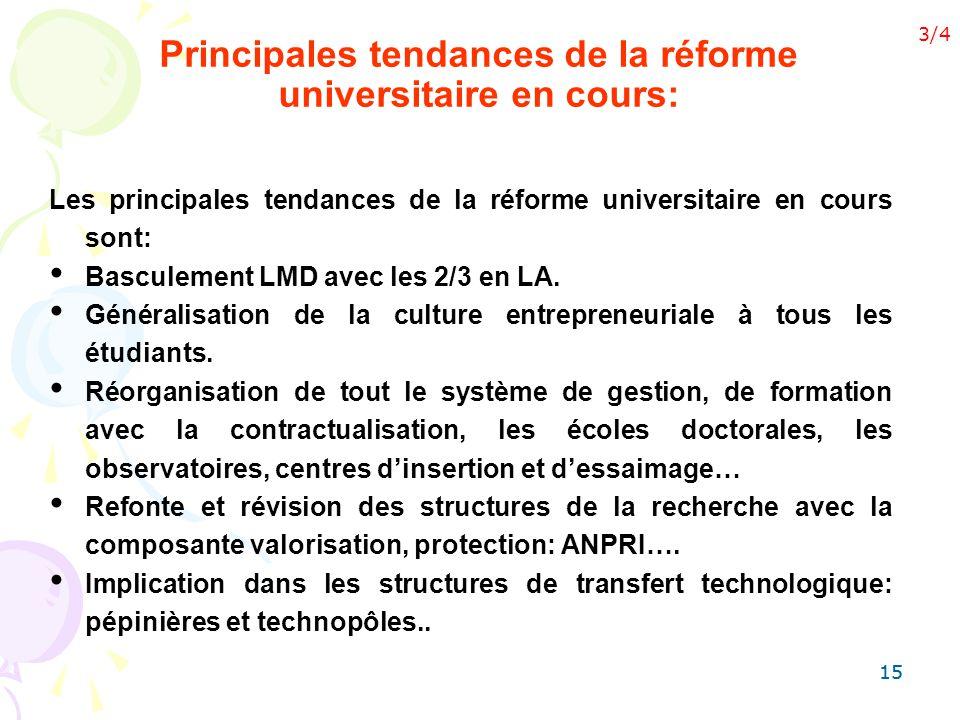15 Principales tendances de la réforme universitaire en cours: Les principales tendances de la réforme universitaire en cours sont: Basculement LMD av