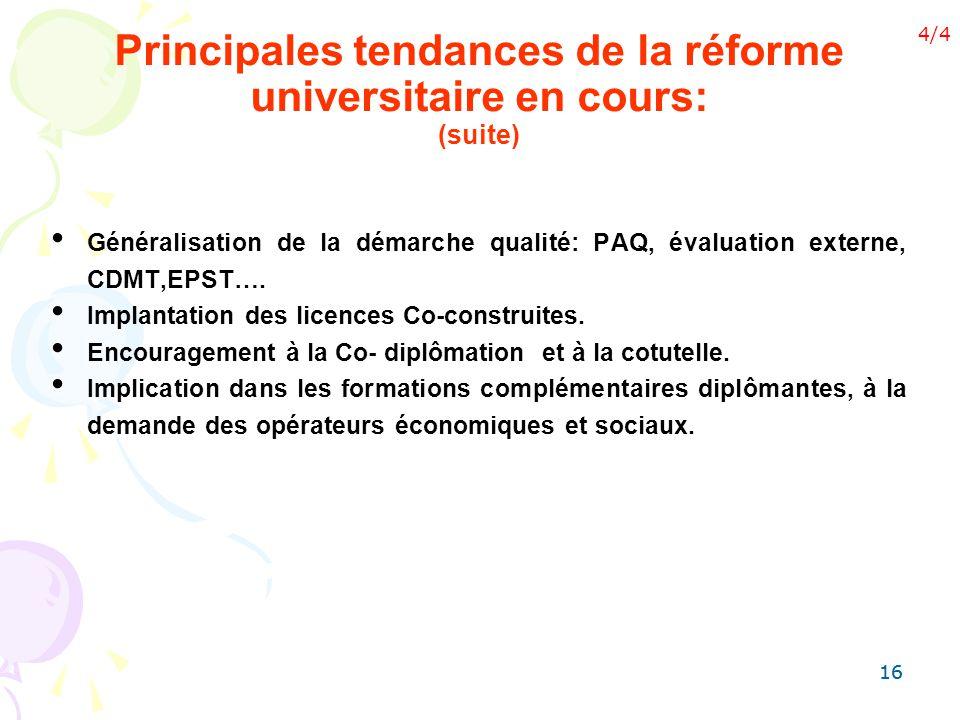 16 Généralisation de la démarche qualité: PAQ, évaluation externe, CDMT,EPST…. Implantation des licences Co-construites. Encouragement à la Co- diplôm