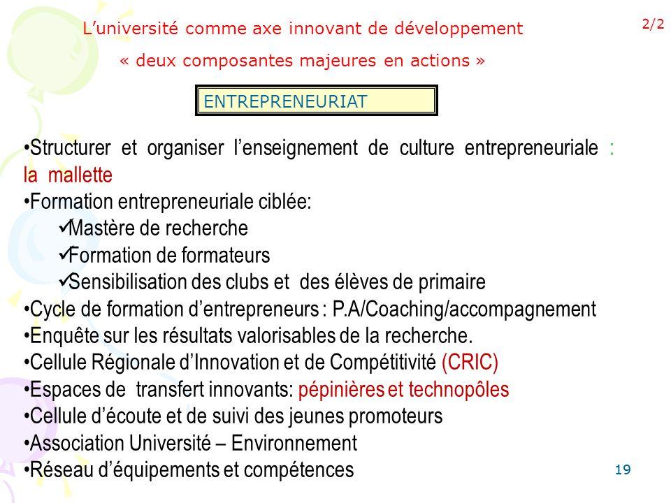 19 Luniversité comme axe innovant de développement « deux composantes majeures en actions » ENTREPRENEURIAT 2/2 Structurer et organiser lenseignement