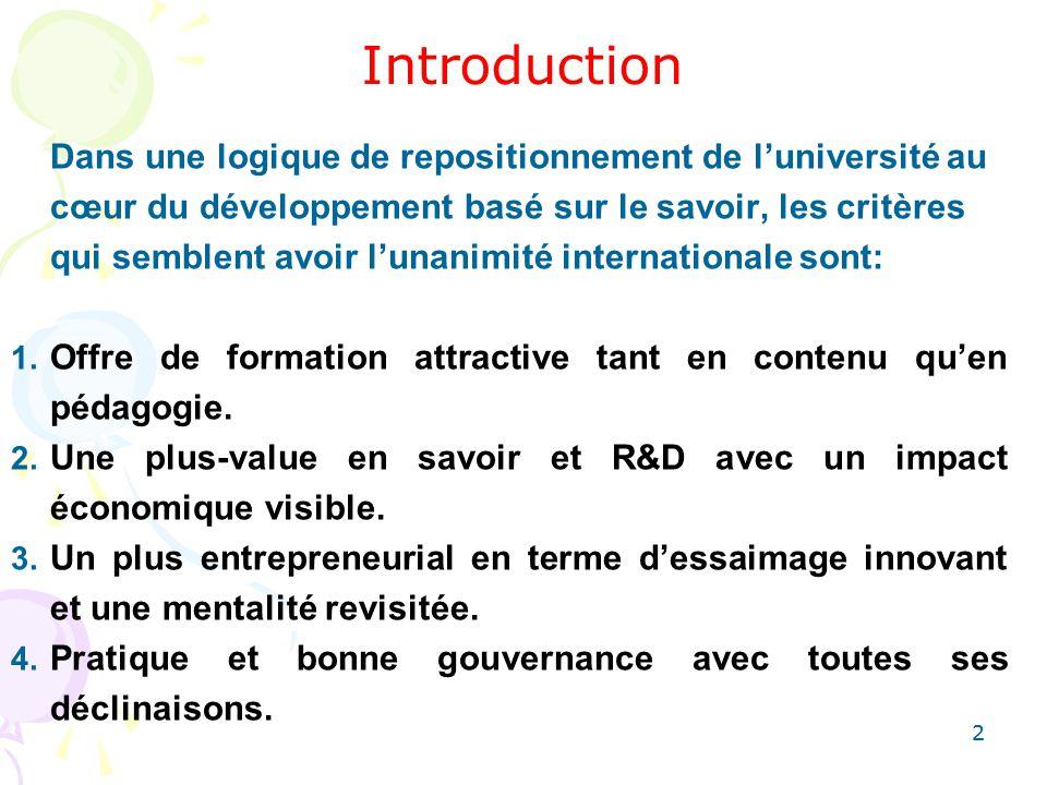 22 Introduction Dans une logique de repositionnement de luniversité au cœur du développement basé sur le savoir, les critères qui semblent avoir lunan