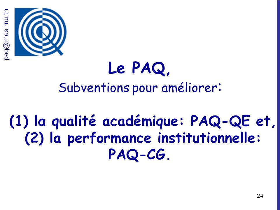 24 Le PAQ, Subventions pour améliorer : (1) la qualité académique: PAQ-QE et, (2) la performance institutionnelle: PAQ-CG. paq@mes.rnu.tn