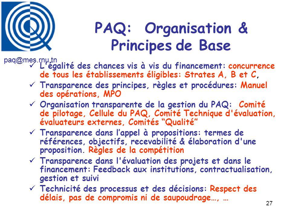 27 PAQ: Organisation & Principes de Base L'égalité des chances vis à vis du financement: concurrence de tous les établissements éligibles: Strates A,