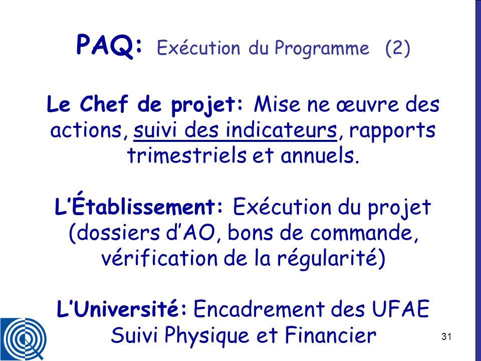 31 PAQ: Exécution du Programme (2) Le Chef de projet: Mise ne œuvre des actions, suivi des indicateurs, rapports trimestriels et annuels. LÉtablisseme