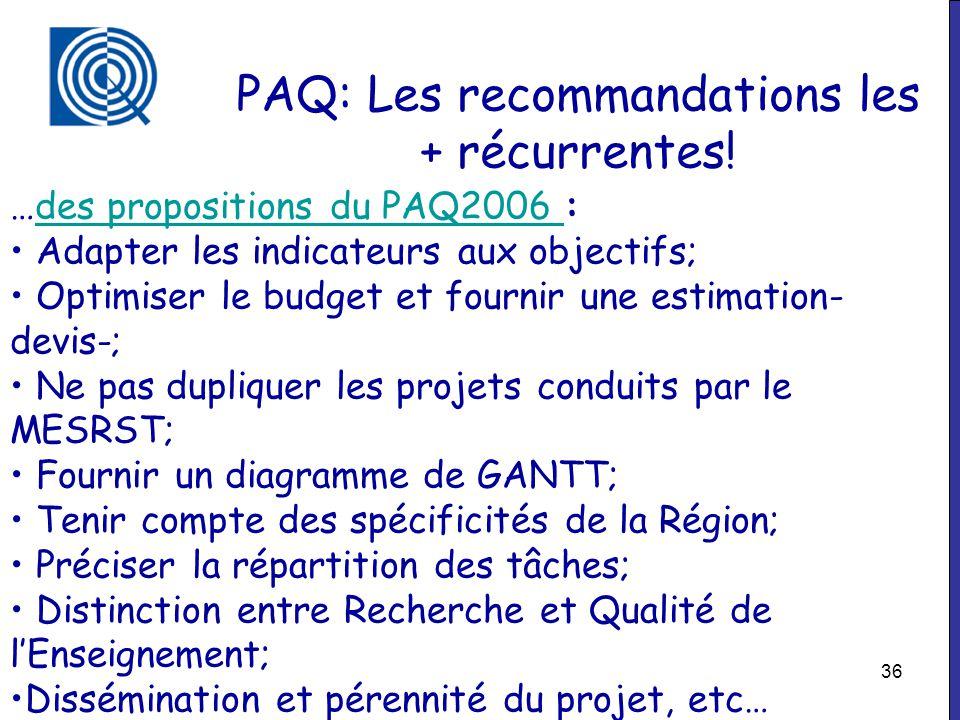 36 PAQ: Les recommandations les + récurrentes! …des propositions du PAQ2006 :des propositions du PAQ2006 Adapter les indicateurs aux objectifs; Optimi