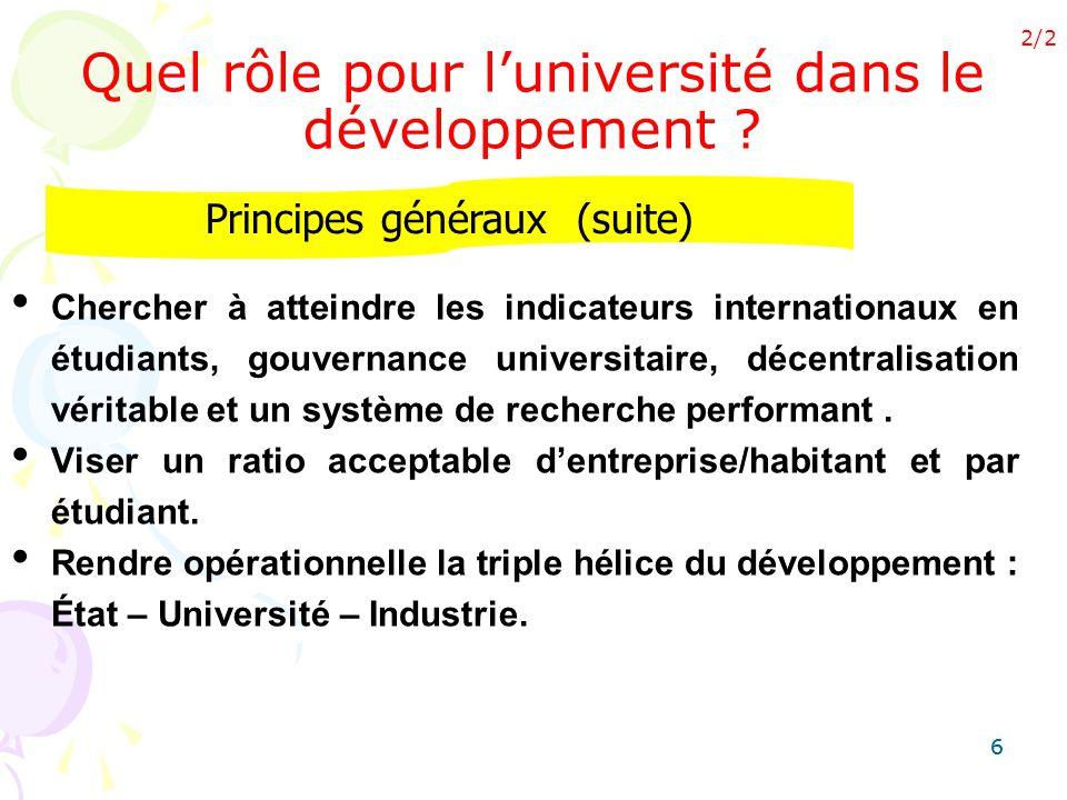 66 Chercher à atteindre les indicateurs internationaux en étudiants, gouvernance universitaire, décentralisation véritable et un système de recherche