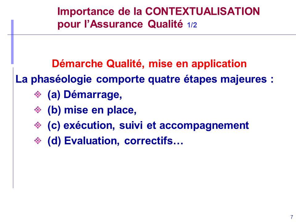 7 Importance de la CONTEXTUALISATION pour lAssurance Qualité 1/2 Démarche Qualité, mise en application La phaséologie comporte quatre étapes majeures