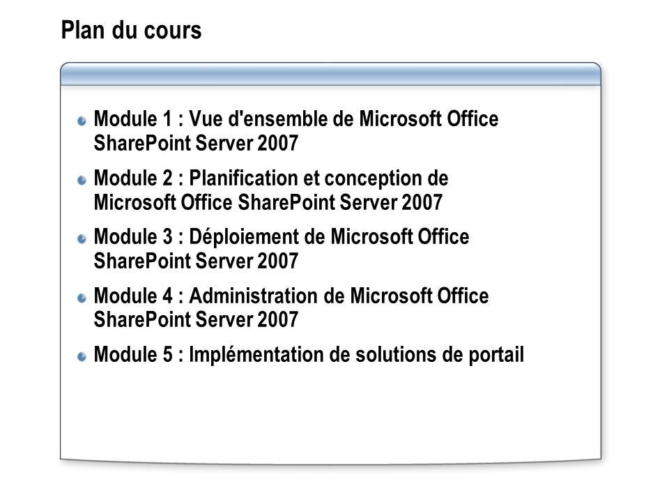 Plan du cours Module 1 : Vue d ensemble de Microsoft Office SharePoint Server 2007 Module 2 : Planification et conception de Microsoft Office SharePoint Server 2007 Module 3 : Déploiement de Microsoft Office SharePoint Server 2007 Module 4 : Administration de Microsoft Office SharePoint Server 2007 Module 5 : Implémentation de solutions de portail