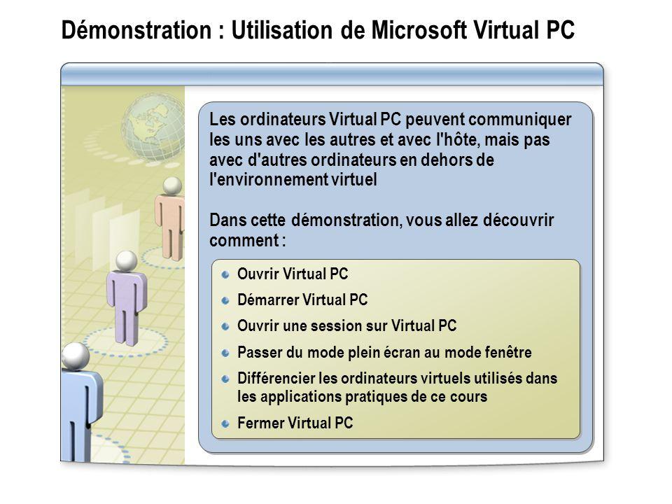 Démonstration : Utilisation de Microsoft Virtual PC Les ordinateurs Virtual PC peuvent communiquer les uns avec les autres et avec l hôte, mais pas avec d autres ordinateurs en dehors de l environnement virtuel Dans cette démonstration, vous allez découvrir comment : Les ordinateurs Virtual PC peuvent communiquer les uns avec les autres et avec l hôte, mais pas avec d autres ordinateurs en dehors de l environnement virtuel Dans cette démonstration, vous allez découvrir comment : Ouvrir Virtual PC Démarrer Virtual PC Ouvrir une session sur Virtual PC Passer du mode plein écran au mode fenêtre Différencier les ordinateurs virtuels utilisés dans les applications pratiques de ce cours Fermer Virtual PC Ouvrir Virtual PC Démarrer Virtual PC Ouvrir une session sur Virtual PC Passer du mode plein écran au mode fenêtre Différencier les ordinateurs virtuels utilisés dans les applications pratiques de ce cours Fermer Virtual PC