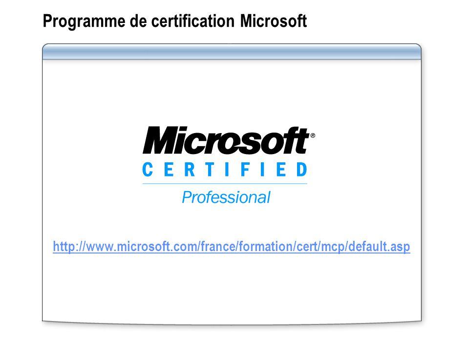 Programme de certification Microsoft http://www.microsoft.com/france/formation/cert/mcp/default.asp