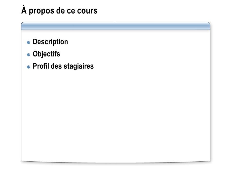 À propos de ce cours Description Objectifs Profil des stagiaires