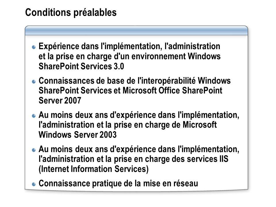 Conditions préalables Expérience dans l'implémentation, l'administration et la prise en charge d'un environnement Windows SharePoint Services 3.0 Conn