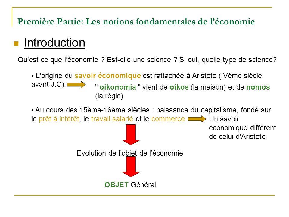 Première Partie: Les notions fondamentales de léconomie Introduction Quest ce que léconomie ? Est-elle une science ? Si oui, quelle type de science? L