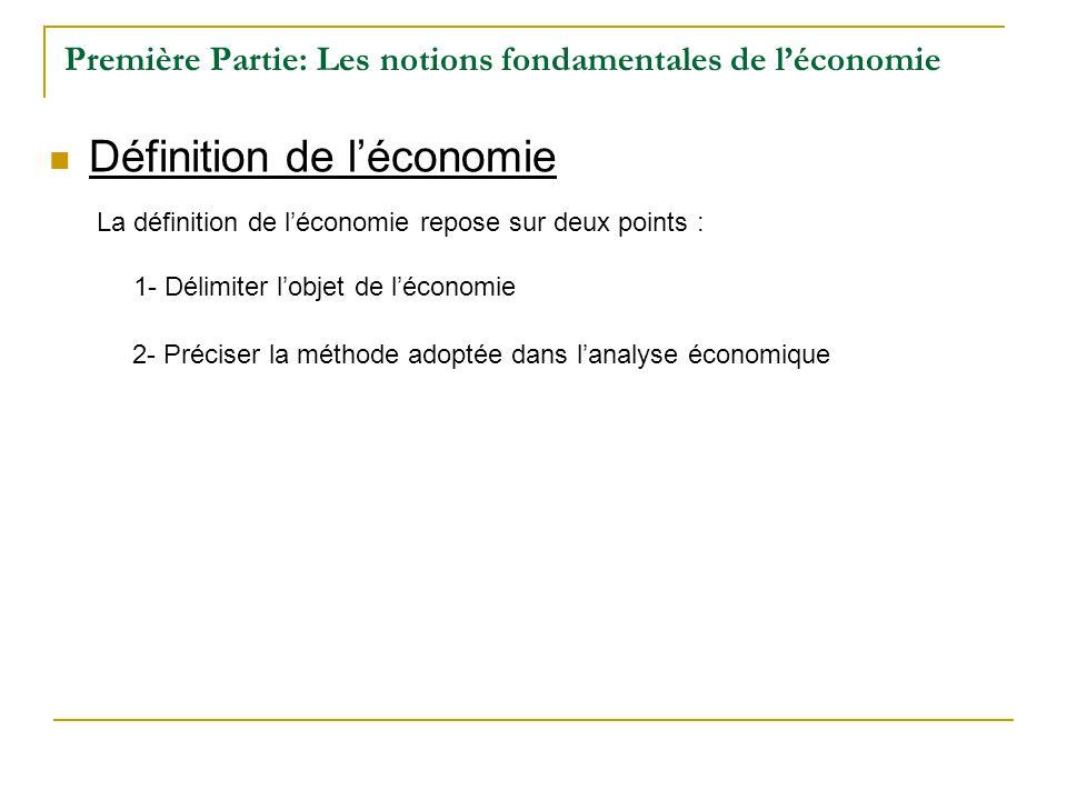 Première Partie: Les notions fondamentales de léconomie Définition de léconomie La définition de léconomie repose sur deux points : 1- Délimiter lobje