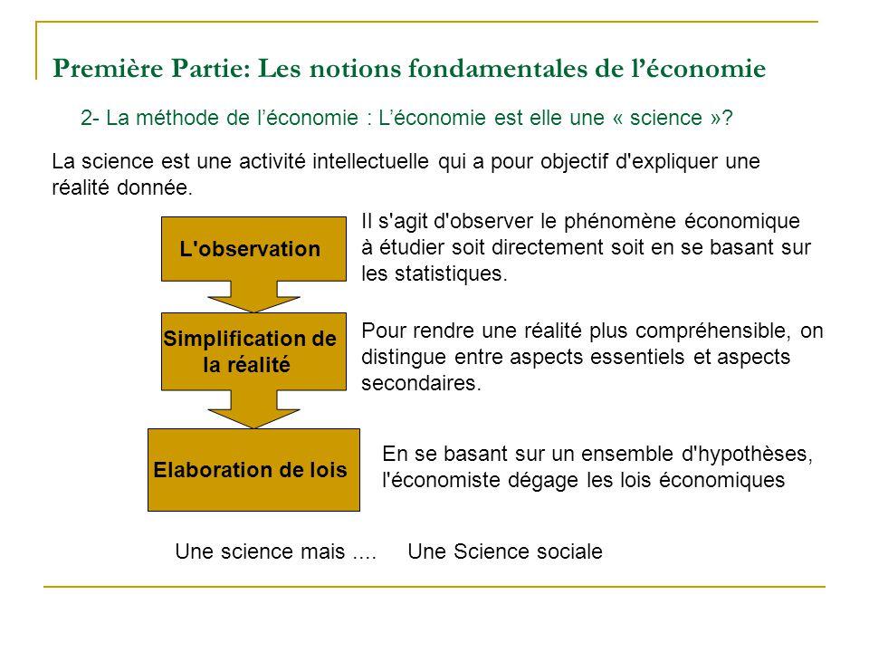 Première Partie: Les notions fondamentales de léconomie 2- La méthode de léconomie : Léconomie est elle une « science »? La science est une activité i