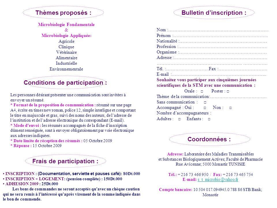 Thèmes proposés : Conditions de participation : Les personnes désirant présenter une communication sont invitées à envoyer un résumé.