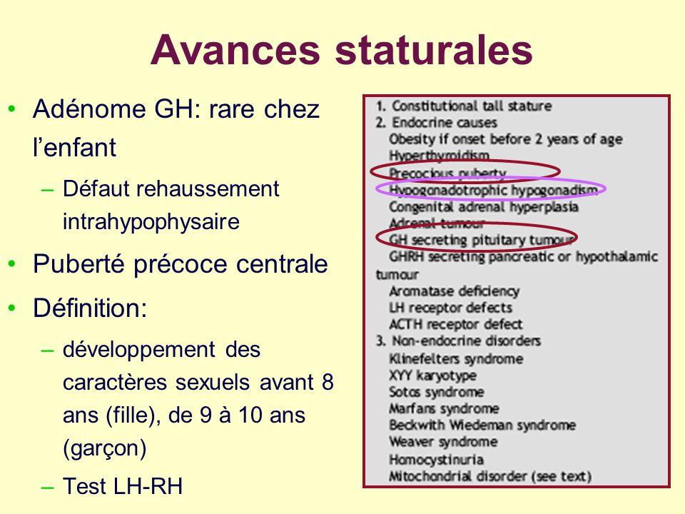 Avances staturales Adénome GH: rare chez lenfant –Défaut rehaussement intrahypophysaire Puberté précoce centrale Définition: –développement des caract