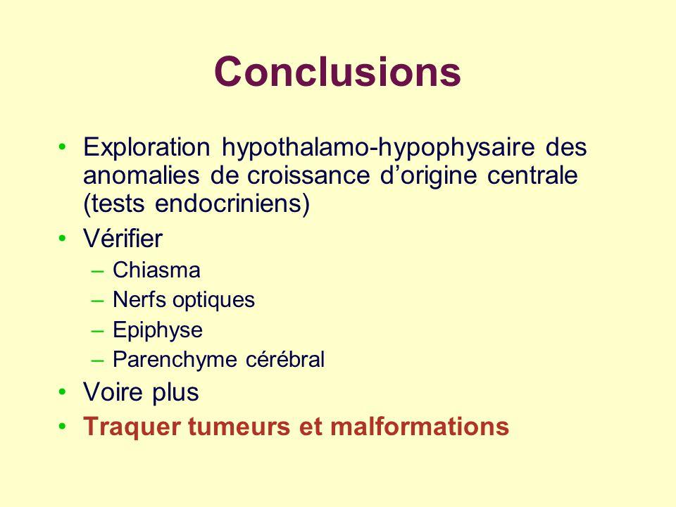 Conclusions Exploration hypothalamo-hypophysaire des anomalies de croissance dorigine centrale (tests endocriniens) Vérifier –Chiasma –Nerfs optiques