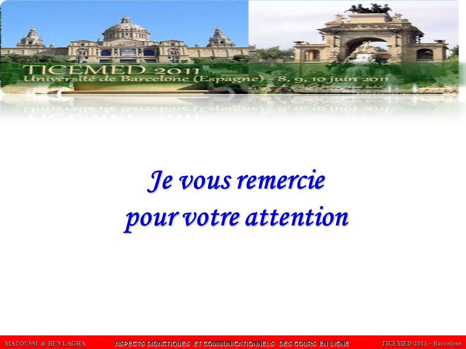 MATOUSSI & BEN LAGHA ASPECTS DIDACTIQUES ET COMMUNICATIONNELS DES COURS EN LIGNE TICEMED 2011 – Barcelone Je vous remercie pour votre attention