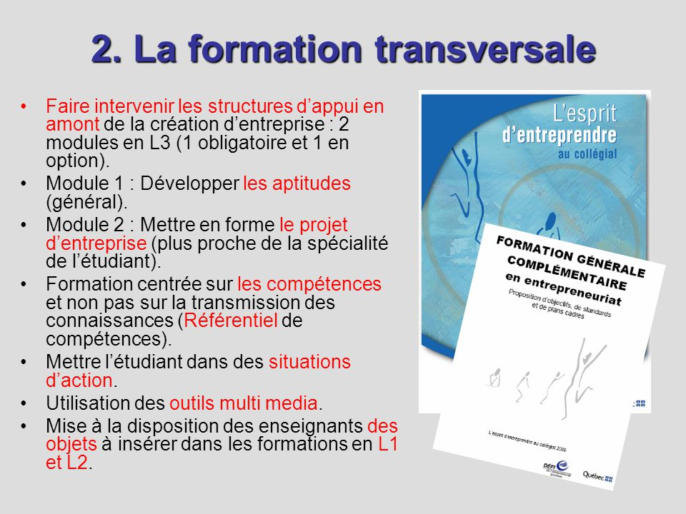 2. La formation transversale Faire intervenir les structures dappui en amont de la création dentreprise : 2 modules en L3 (1 obligatoire et 1 en optio