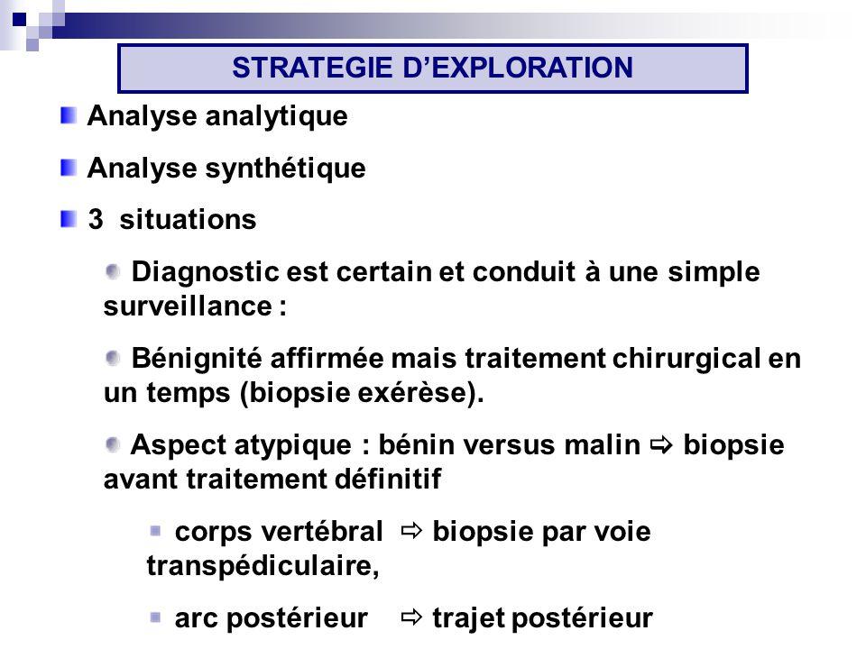 Analyse analytique Analyse synthétique 3 situations Diagnostic est certain et conduit à une simple surveillance : Bénignité affirmée mais traitement chirurgical en un temps (biopsie exérèse).
