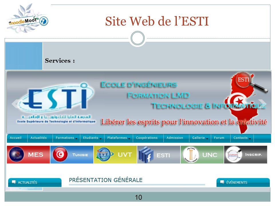 Site Web de lESTI Services : 10
