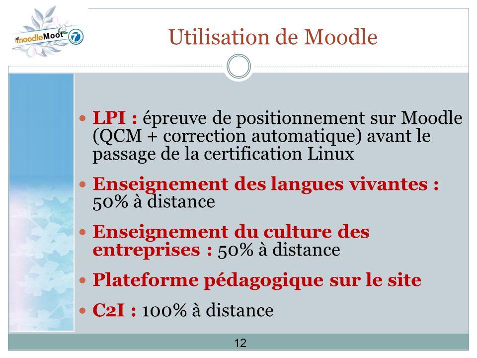 Utilisation de Moodle LPI : épreuve de positionnement sur Moodle (QCM + correction automatique) avant le passage de la certification Linux Enseignement des langues vivantes : 50% à distance Enseignement du culture des entreprises : 50% à distance Plateforme pédagogique sur le site C2I : 100% à distance 12