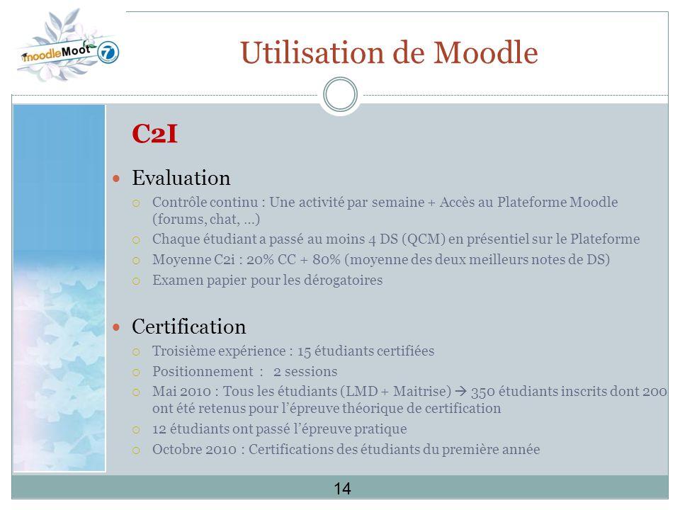 Utilisation de Moodle C2I Evaluation Contrôle continu : Une activité par semaine + Accès au Plateforme Moodle (forums, chat, …) Chaque étudiant a passé au moins 4 DS (QCM) en présentiel sur le Plateforme Moyenne C2i : 20% CC + 80% (moyenne des deux meilleurs notes de DS) Examen papier pour les dérogatoires Certification Troisième expérience : 15 étudiants certifiées Positionnement : 2 sessions Mai 2010 : Tous les étudiants (LMD + Maitrise) 350 étudiants inscrits dont 200 ont été retenus pour lépreuve théorique de certification 12 étudiants ont passé lépreuve pratique Octobre 2010 : Certifications des étudiants du première année 14